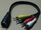 5 pólusú DIN - 4 RCA kábel, 0,1m