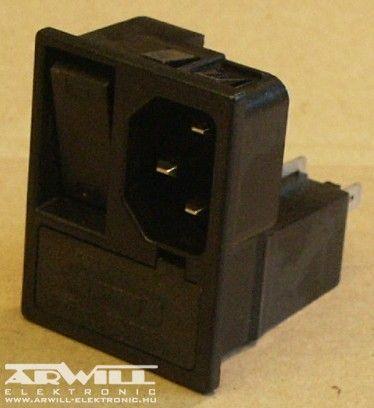 AC fix apa aljzat + biztosíték foglalat + kapcsoló