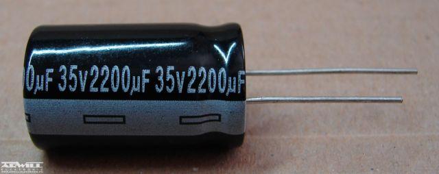 2200uF, 35V, elektrolit kondenzátor