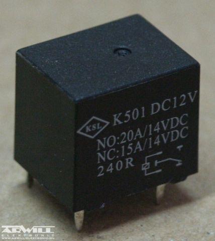 K-501 relé, 12V, 20A