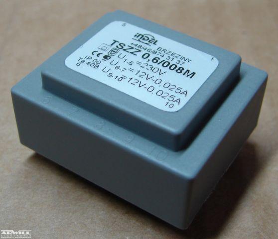 0,6VA, 2x12V, transzformátor