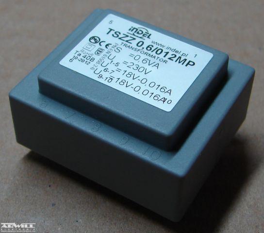 0,6VA, 2x18V, transzformátor