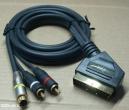 Scart - 2 RCA S-video kábel, 1,5m